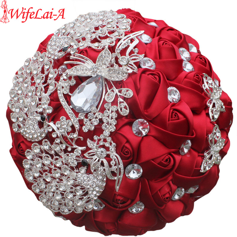 WIFELAI-A Wine Red Rose Brooch Throw Wedding Bouquets De Mariage Polyester Bridal Wedding Bouquets Pearl Flowers W290-5