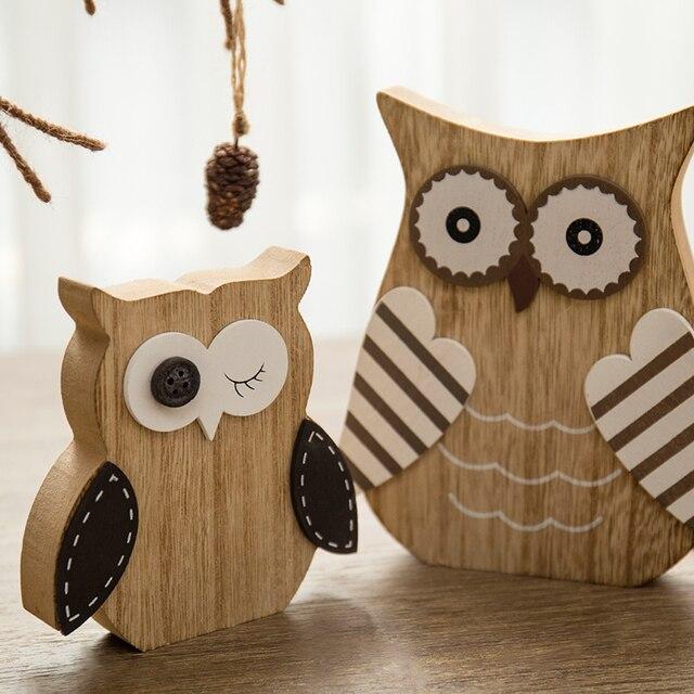 BOMAROLAN Figur Owl Shaped Figurine Wooden Rabbit Home Decor Wood Plaque Decoration Craft Gift For Girl