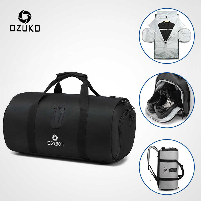 Waterproof Duffle Bags >> Ozuko Multifunction Large Capacity Men Travel Bag Waterproof Duffle Bag For Trip Suit Storage Hand Luggage Bags With Shoe Pouch