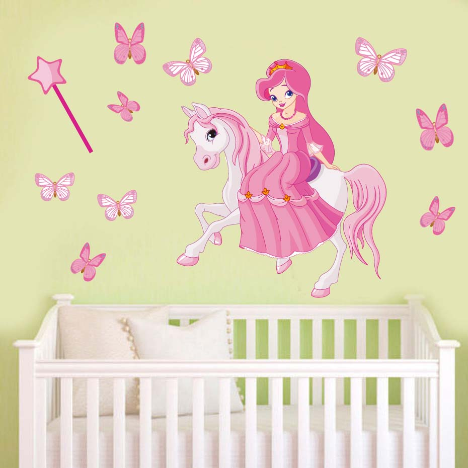 Cute Horse Fairy Girl Light Switch Sticker Pink Vinyl Interesting ...
