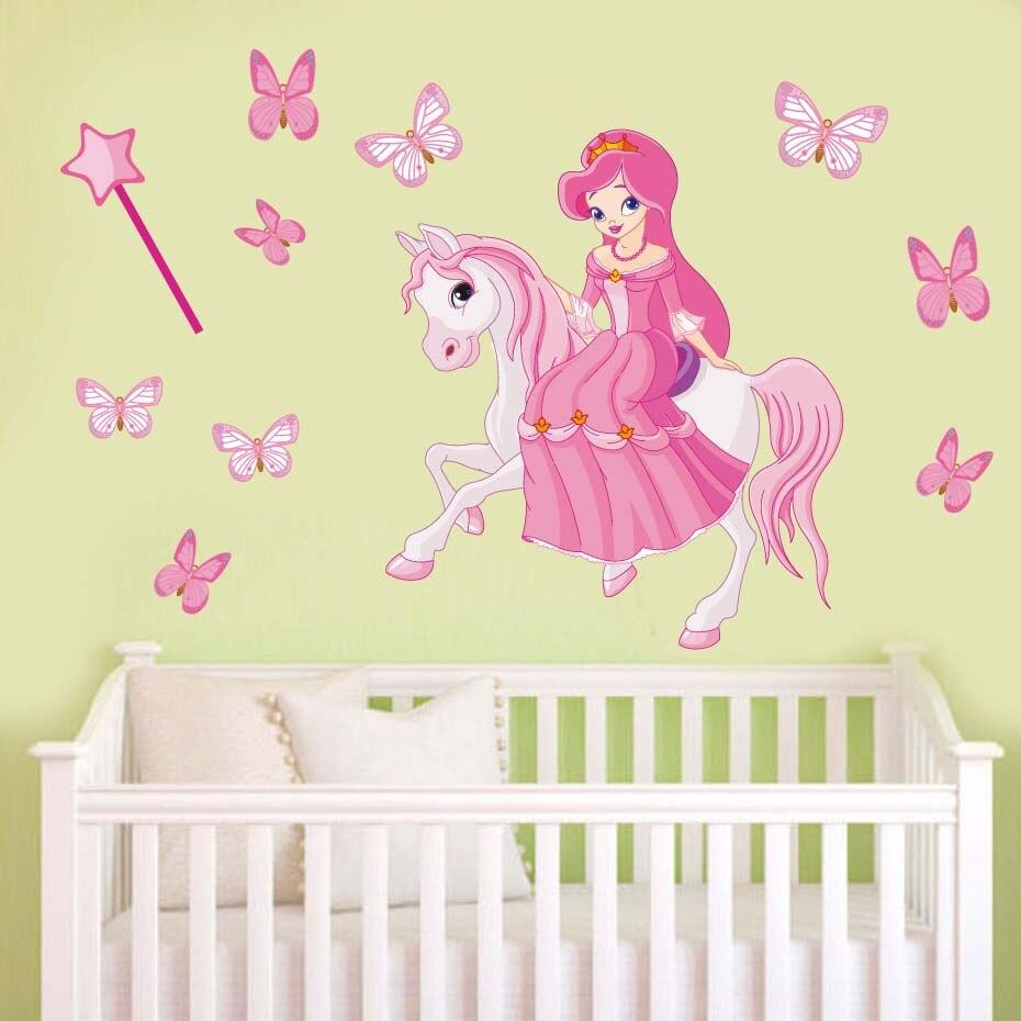 Pink Fairy Princess Decals Cartoon Vinyl Wall Sticker Wall Art For ...