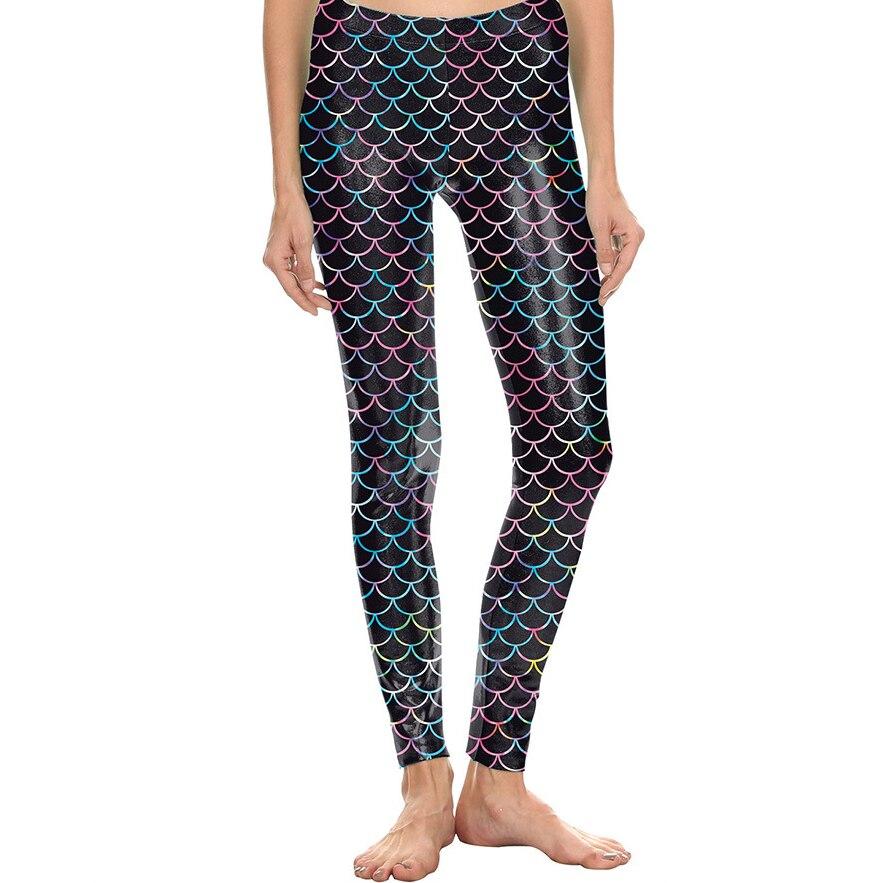 Europe Star Style Ladies Sexy 3-D Fish Scale Printing Leggings Girl Halloween Cosplay Mermaid High-waist Bottom Pants