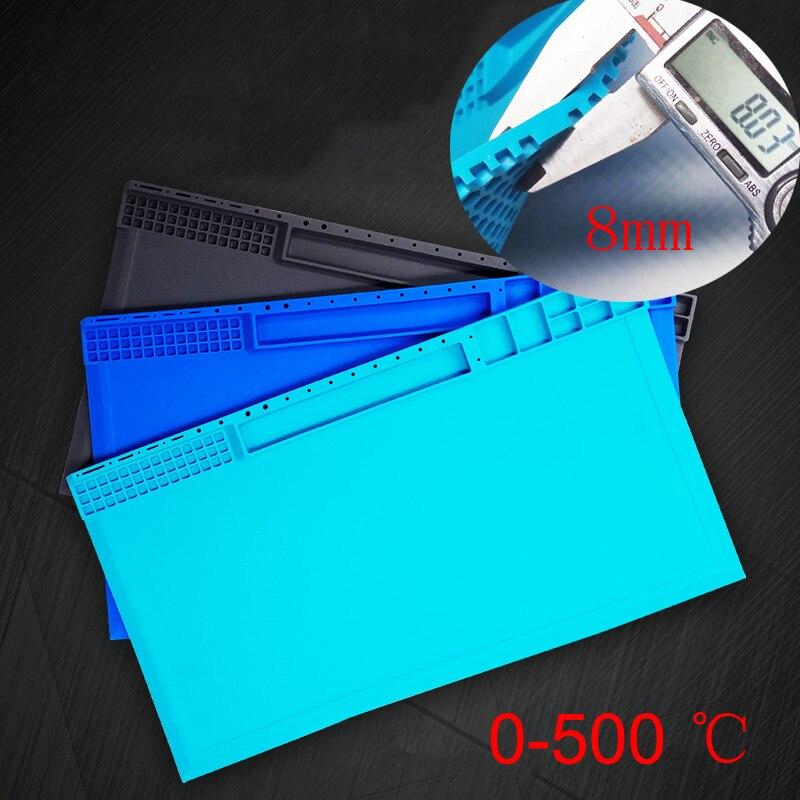 цена на Heat-resistant Silicone Soldering Pad Heat Insulation Desk Mat Maintenance Platform BGA Soldering Rework Station Tools
