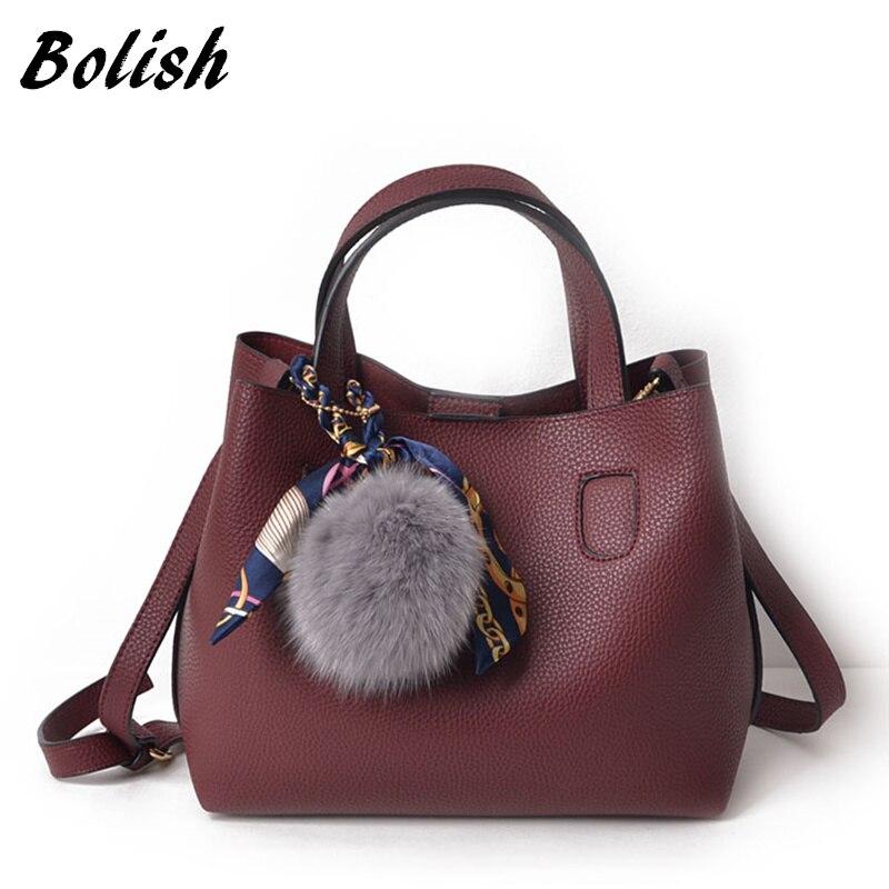 Bolish Litchi Pattern Soft PU Leather Women Handbag Two Pieces Female Shoulder Bag Girls Messenger bag Casual Women Bag messenger bag