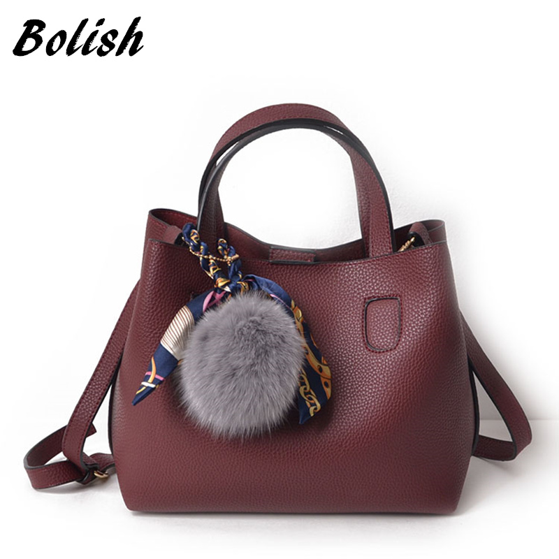 Bolish Litchi Pattern Soft PU Leather Women Handbag Two Pieces Female Shoulder Bag Girls Messenger bag Casual Women Bag pu leather backpack litchi pattern student bag