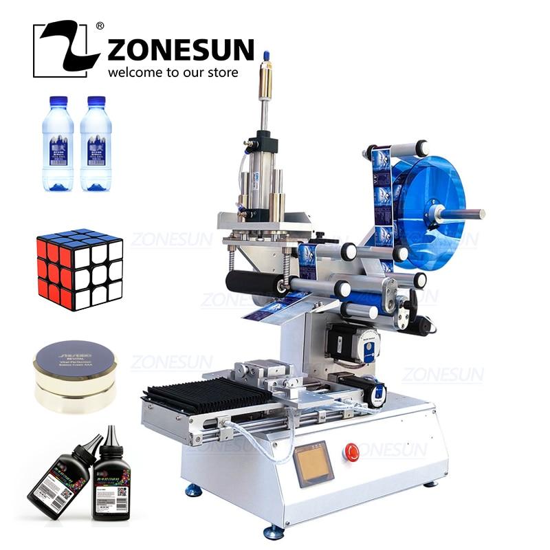 ZONESUN XL T803 Semi automatic Flat Plastic Cans Rubik's cube Shampoo Water Milk Juicer Bottle Labeling Machine Labeller