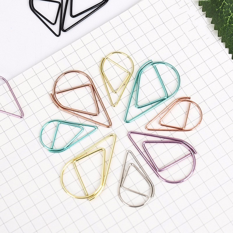 12PCS Lovely 6 Colors Brief Style Waterdrop Shaped Metal Paper Clip Bookmark Stationery School Office Supply Escolar Papelaria