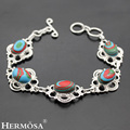 Hermosa Jewelry The best gift compelling Makesaibi jade lace 925 sterling silver fashion bracelet 8.25'' HF287