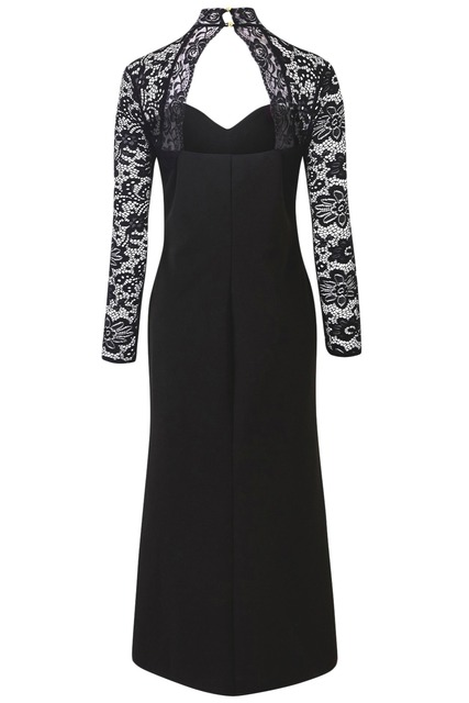 Black Sheer Lace Long Sleeve Plus Size 5XL 4XL Party Dress Ladies Fashion Cutout Accents High Neck and Open Back Elegant Dresses 3