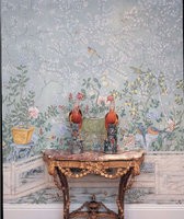 Hand painted silk wallpaper european style painting flower with bird hand painted wall paper wallcovering many pictures optional
