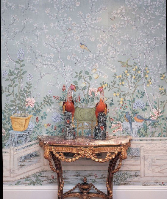 Hand-painted silk wallpaper european style painting flower with bird hand painted wall paper wallcovering many pictures optional