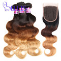 Ombre Brazilian hair with closure Brazilian virgin hair body wave ombre human hair 3 bundles with closure blonde Brazilian hair