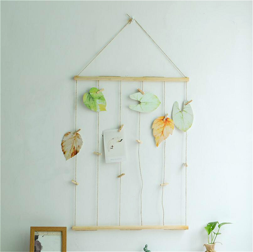 Image 5 - Nordic Style Simple Creative Linen Picture Wall With Clips Nails Postcards Pictured Hanging Room Decoration No String Lights DIY-in Wind Chimes & Hanging Decorations from Home & Garden