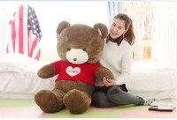 Огромный Прекрасный мишка кукла милый красный свитер шоколад с любовь самый большой игрушечный медведь подарок на день рождения около 160 с