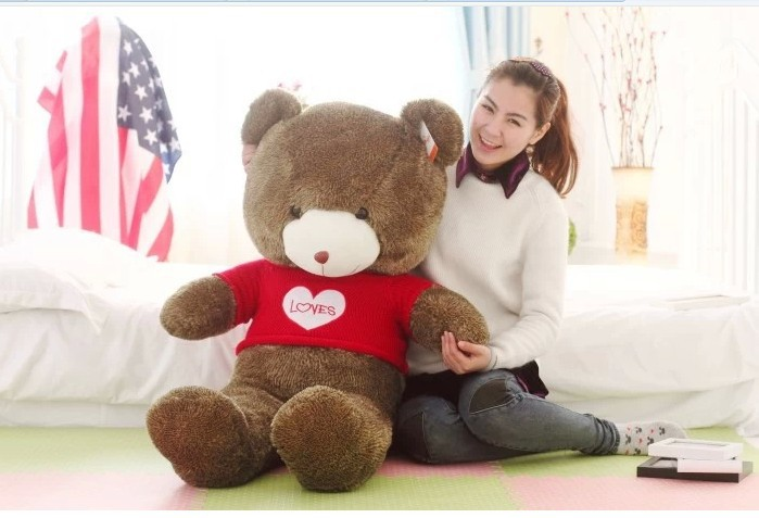 huge lovely teddy bear doll cute red sweater chocolate with love  the biggest bear  toy birthday gift about 160cm the huge lovely hippo toy plush doll cartoon hippo doll gift toy about 160cm pink