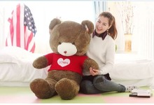 "huge lovely teddy bear doll cute red sweater chocolate with ""love "" the biggest bear  toy birthday gift about 160cm"