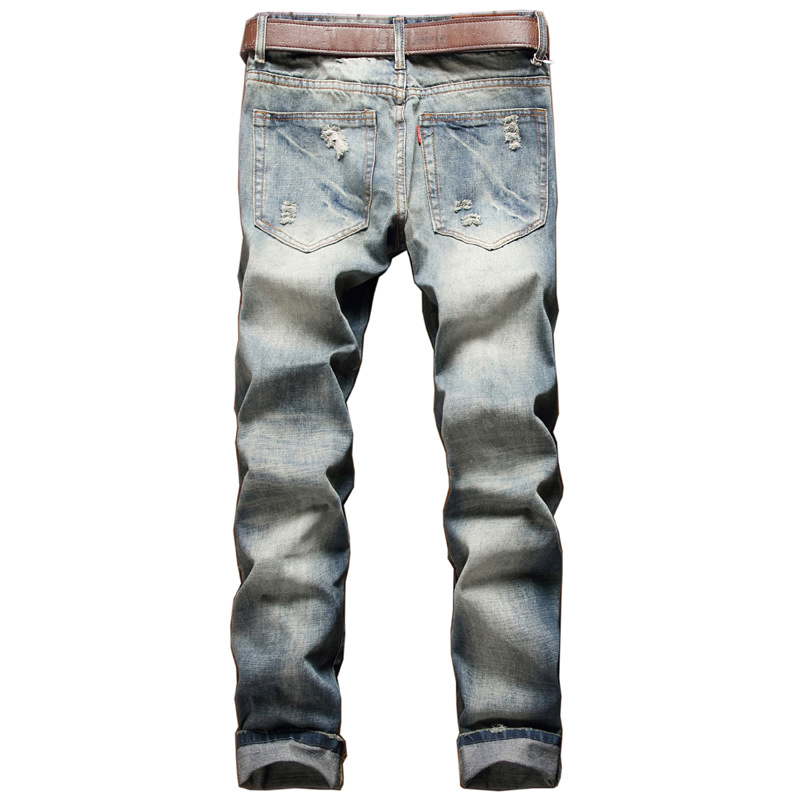 New Mens cotton Straight Jean Style fashion big jeans luxury Meth casual denim Pant trousers Hole Slim skinny jeans Pants men