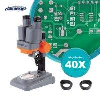 Aomekie 40x binocluar microscópio estéreo superior iluminação led mobil reparação do telefone pcb ferramenta de solda ampla campo ocular