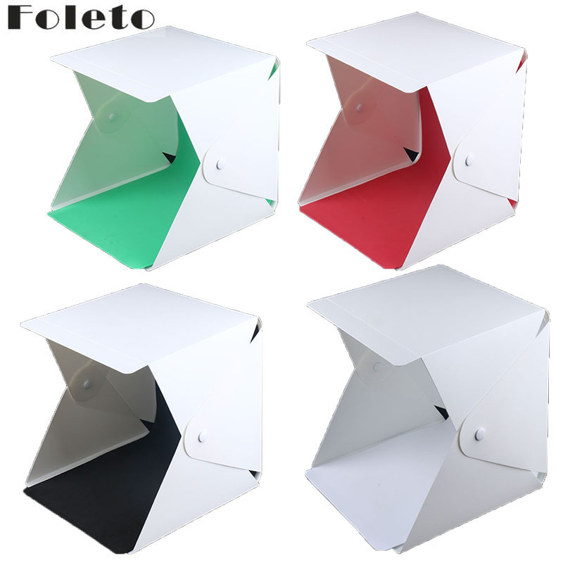 Foleto 23cm Mini Folding Softbox Studio Portable Photography Desktop LED Light Photo Soft Box Built-in button 4Color Background ...