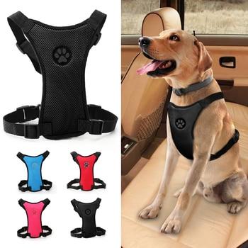 Mesh Dog Car Seat Harness Adjustable Safety Vehicle Dog Leash Harnesses Breathable Nylon Medium Large Dogs Perro Vest Pitbull