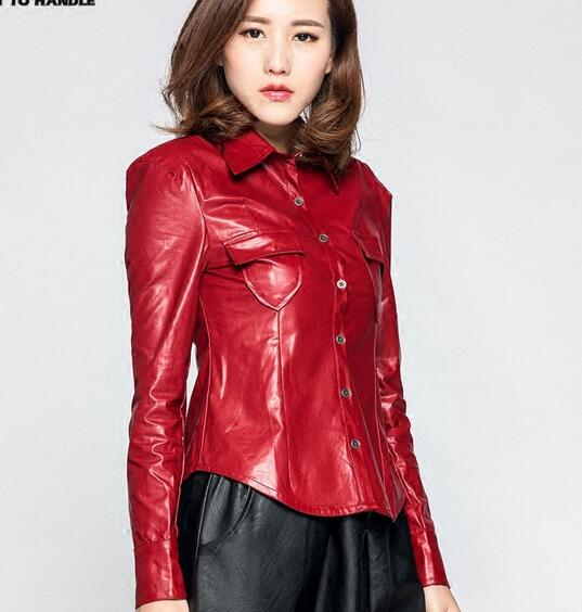 Collection of black leather shirts for women best for Red leather shirt for womens