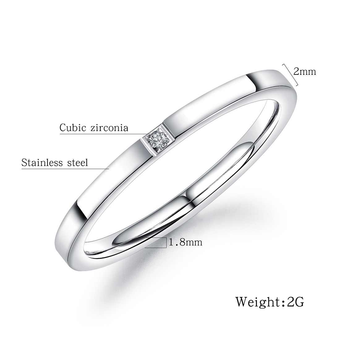 FATE LOVE Brand Stainless Steel Women Girls 2mm Thin Small Rings White Cubic Zircon Stone  Fashion Jewelry US size 4 5 6 7 8 9