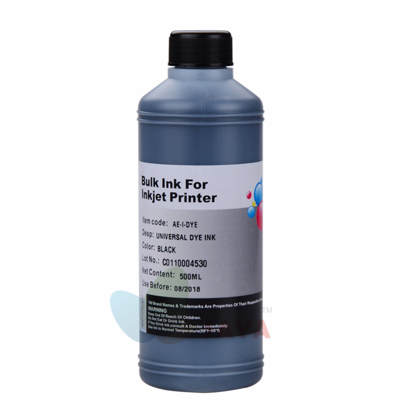 Svart blekkpatron for blekkpatron for blekkskriver for HP Epson Canon Brother-skriver for CISS-system Refill 500ml fargestoff blekk bulk