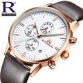 Chronograph Men'S Quartz Watch Leather Strap Band Watches Slim Men Watches Sports Wristwatches Send Beautiful Gift Box