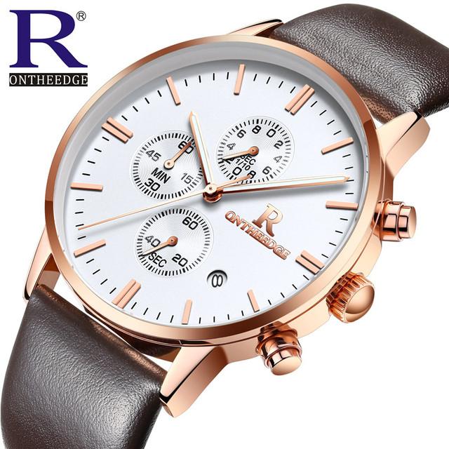 Cronógrafo Homens Relógio de Quartzo Pulseira de Couro Relógios Banda Homens Relógios de Desporto de Pulso Fino Enviar Caixa de Presente Bonita