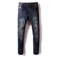 Fashion Classical Men Jeans Dark Color Straight Fit Ripped Jeans homme Italian Vinatge Style 100% Cotton Jeans Men Denim Pants 2017 men s fashion straight black jeans men s pants with high quality 100% cotton jeans loose style jeans men super size 32 48