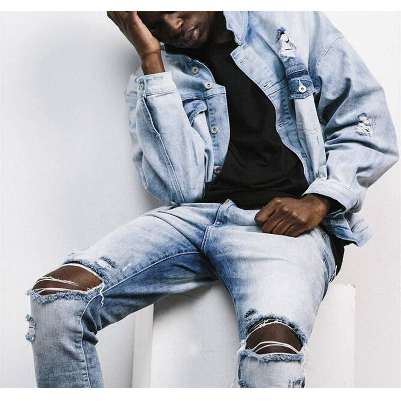 ᗕHip hop Streetwear © Ripped Ripped Distressed Jeans Kanye ...