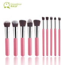 GreenDoor 10pcs Professional Makeup Brushes Tool Flat Foundation Eye Shadow Eyebrow Lip Make Up Brush Cosmetic Kits