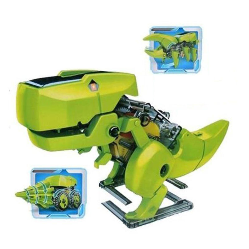 Solar Powerd 4 In 1 Transformation Jurassic World Dinosaur Insect Driller Robot Solar Toy DIY educational toys for children new 1 pcs children baby solar power energy insect grasshopper cricket kids toy gift solar novelty funny toys