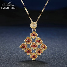 все цены на Lamoon 9 Pieces 5mm Natural Round Red Garnet 925 Sterling Silver Flower Chain Pendant Necklace Jewelry 14K Gold S925 LMNI029 онлайн