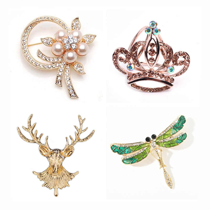 Hot Fashion Charm Crystal Crown Brooch Retro Big Royal  Rhinestones Brooches Woman Jewelry Wedding Corsage Handmade Fine Gift