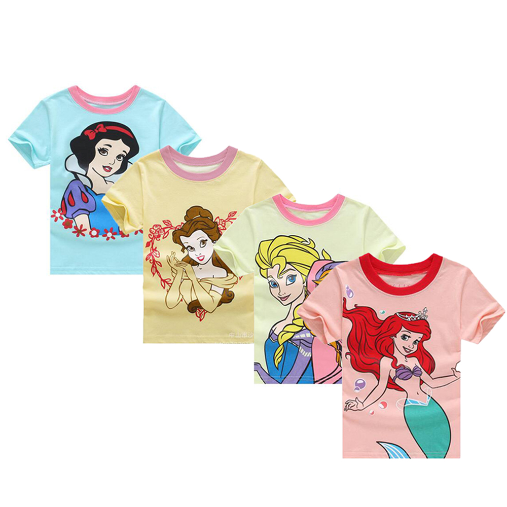 Free shipping winter children's clothing t shirts batman kids tops children cartoon snowwhite mermaid tail clothes anna and elsa cotton cartoon t shirts
