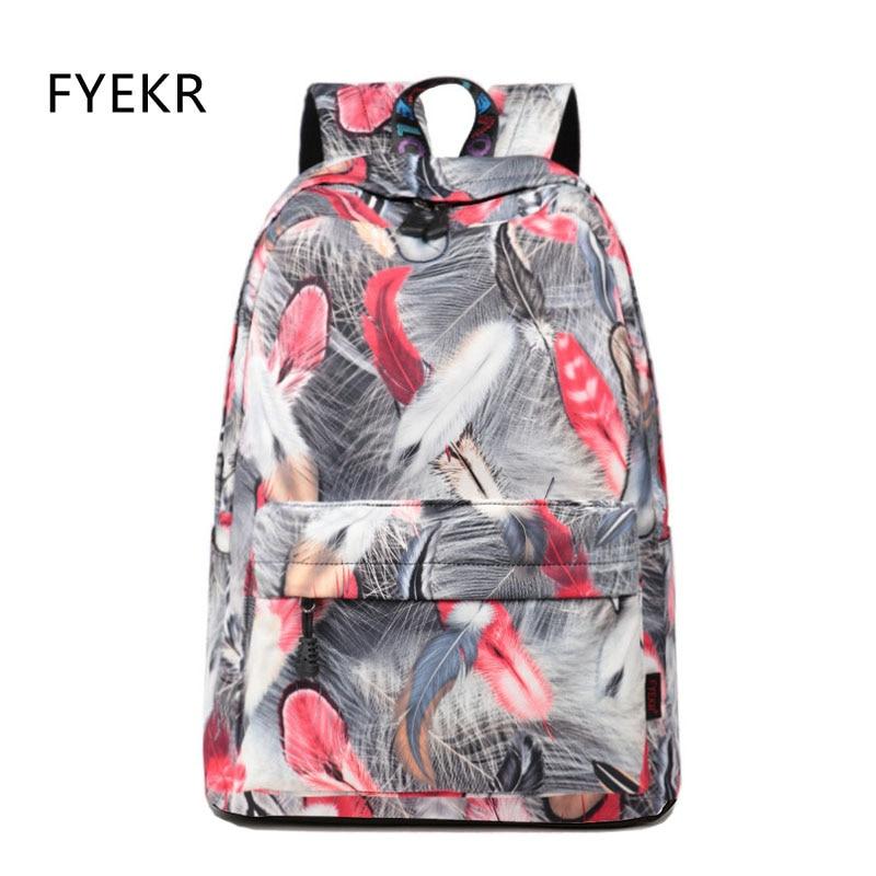 Women School Bag Waterproof Feather Pattern Printing Backpack Female Casual Teen Laptop Knapsack Girl's Bookbag Mochilas Mujer