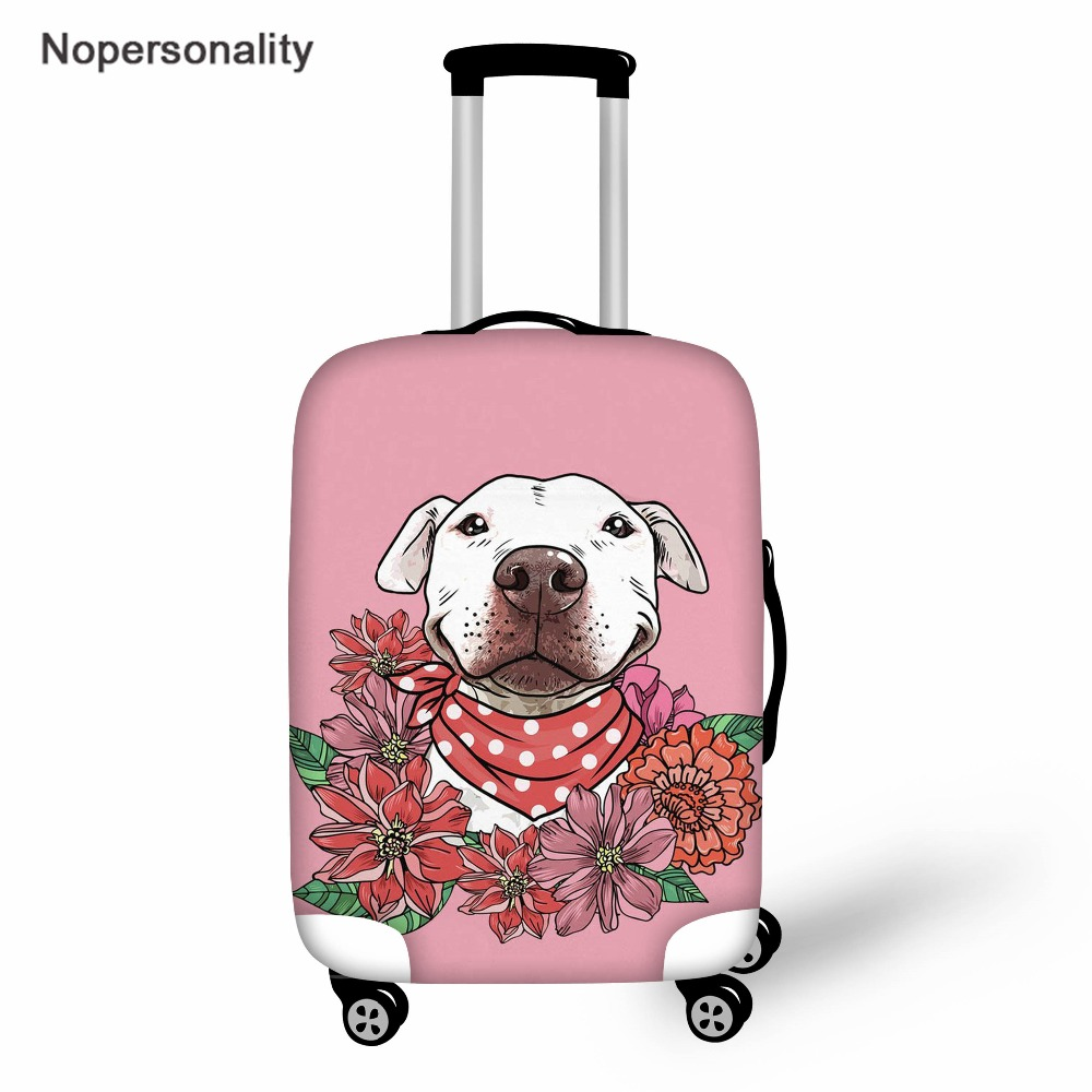 Nopersonality Travel Accessories,Pink Pit Pull Dog Travel Suitcase Protective Cover,Elastic Luggage Password Box Dust Cover