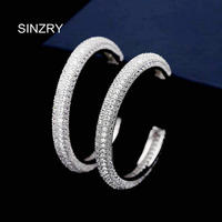 Sinzry jewelry Hot sale New cut Cubic zirconia stone C shape multilayer CZ big exaggerated dangle earrings for women