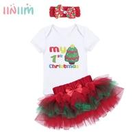 Iiniim 3PCS NewBorn Baby Girls Christmas Tree Outfits Autumn Winter My 1st Christmas Baby Bebe Rompers