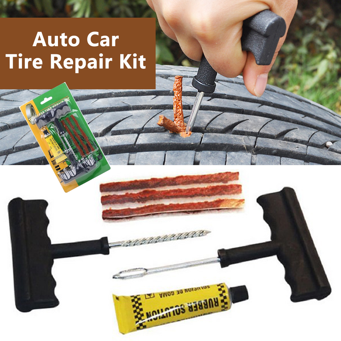 Tire Repair Tools Kit 6Pcs Car Accessories Auto Bike Auto Tubeless Tire Tyre Repair Kit Puncture Plug Repair Kit Hand Tools