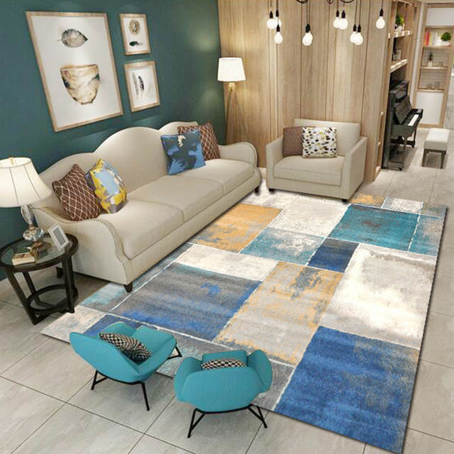 US $49.99 20% OFF|3D Carpets for Living Room Modern Geometric Square Area  Rugs Bedroom European tapis marige Floor Rug Home Mats Carpet Runner-in ...