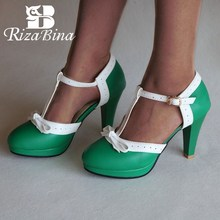 RIZABINA Size 32-48 Women High Heels Sandals bow Summer Shoes Platform Square Sandalias Party Wedding Footwear