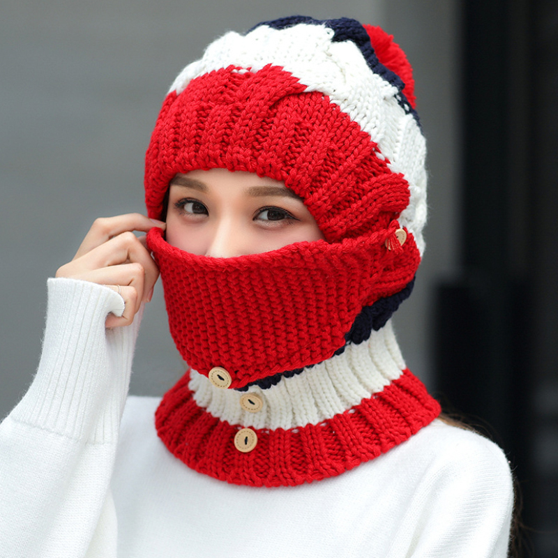 HT2081 Winter Accessories For Women Thick Warm Mask Hat Scarf Set Ladies Knitted Hat Scarf Set Big Pompon Winter Hat With Scarf