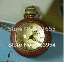 Free shipping wholesale 2pcs/lot women men New Retro Steampunk Wooden quartz Roman Pendant Necklaces Pocket watches clocks wp023