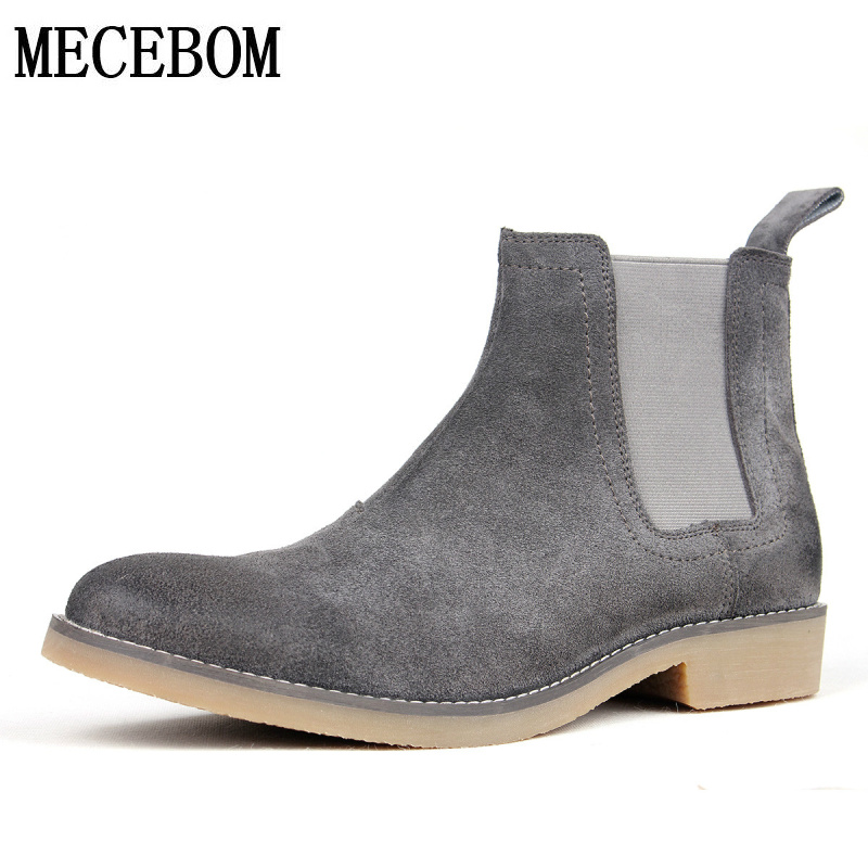 Men's chelsea boots luxury brand full genuine leather ankle boot men quality slip-on shoes Zapatos Hombre size 39-44 LA2502M new fashion men luxury brand casual shoes men non slip breathable genuine leather casual shoes ankle boots zapatos hombre 3s88