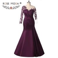 Rose Moda Long Sleeves Purple Mermaid Evening Dress Formal Party Dress Plus Size Evening Dresses 2018 Custom Made
