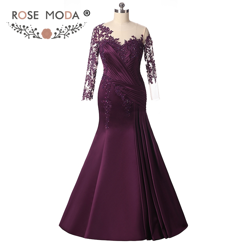 Rose Moda Long Sleeves Purple Mermaid   Evening     Dress   Formal Party   Dress   Plus Size   Evening     Dresses   2018 Custom Made
