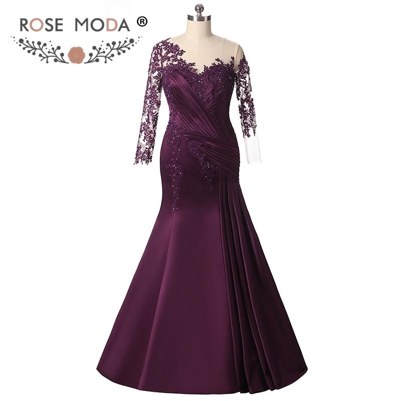 Rose Moda manches longues robe de soirée sirène pourpre robe de soirée formelle grande taille robes de soirée 2018 sur mesure