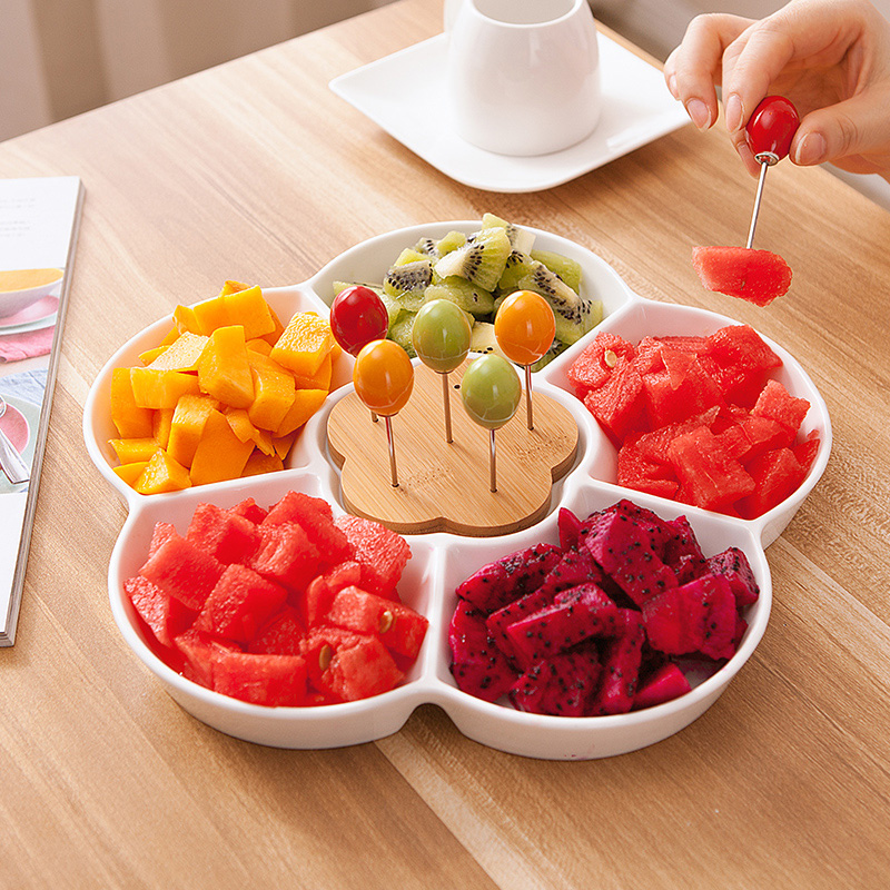 1/pcs Creative ceramic household simple fruit plate Japanese snack plate salad plate living room dessert dried fruit plate